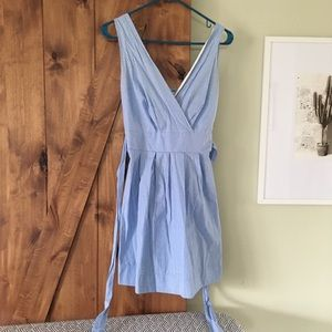 Blue and white pinstripe summer dress